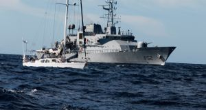 LE Niamh, with yacht suspected of carrying about €80 million euros  worth of cocaine after it was stormed by an Irish Naval team 200 nautical miles off Mizen Head. Photograph:   Defence Forces Ireland/PA Wire