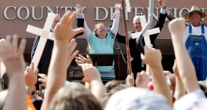 Rowan County clerk Kim Davis celebrates her release from the Carter County Detention centre in Grayson, Kentucky in September. Photograph: Chris Tilley/Reuters