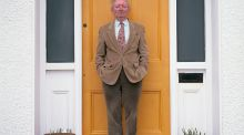 Brian Friel at his front door. Photograph: Bobbie Hanvey