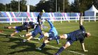 The Italy squad take part in a training session at Cobham RFC,  London. Photograph: Getty Images
