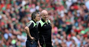 Noel Connelly and Pat Holmes have announced their decision to stand down as Mayo senior football managers. Photograph: Inpho
