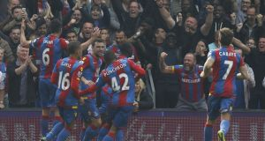 Yannick Bolasie broke the deadlock for Crystal Palace setting up their 2-0 win over West Brom at Selhurst Park. Photograph: Afp