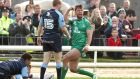 Connacht's Danie Poolman celebrates scoring a try against Cardiff. Photograph: Morgan Treacy/Inpho