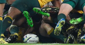 The  ball is seen at the base of a scrum during the  match  between England and Australia at Twickenham. Photograph: EPA