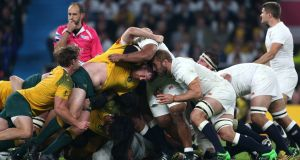 England and Australia contest the scrum during the World Cup match at Twickenham Stadium, London. Photograph: PA