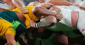 The Australian scrum was dominant all night and a source of penalties and crucial momentum for the Wallabies. Photograph: Reuters