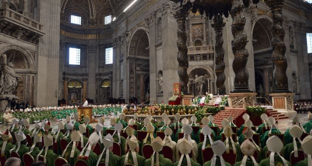 Pope Francis leads a mass for the opening of the synod on the family on Sunday at St Peter's basilica in Vatican. Photograph: AFP
