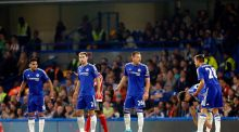 The Chelsea defensive line of Radamel Falcao, Branislav Ivanovic, John Terry, Gary Cahill and Cesar Azpilicueta during the Barclays Premier League match at Stamford Bridge. Photograph: Jed Leicester/PA