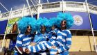 Argentinian fans arrive for the Rugby World Cup 2015 Pool C match against Tonga at Leicester City Stadium.Photograph: EPA