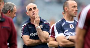 Galway manager Anthony Cunningham dejected after the All-Ireland final defeat. Photograph: Ryan Byrne/Inpho