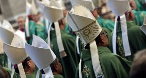 Prelates during the opening Mass of the XVI Ordinary Meeting of the Synod of Bishops. Photograph: EPA