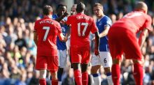 Liverpool's Mamadou Sakho clashes with Everton's Romelu Lukaku during Sunday's draw between the sides. Photograph: Lee Smith/Reuters