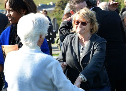 Anne Friel and Marie Heaney, at the burial ceremony of Brian Friel, at Glenties Cemetery. Photograph: Dara Mac Donaill/The Irish Times