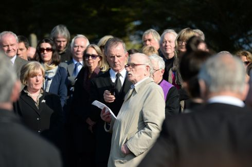 Thomas Kilroy, speaking at the burial ceremony of Brian Friel, in Glenties. Photograph: Dara Mac Donaill/The Irish Times