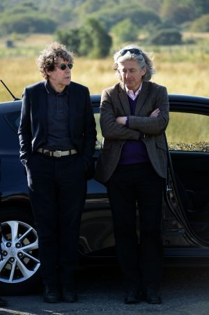 Stephen Rea and director of the Abbey Theatre Fiach Mac Conghail at the funeral of Brian Friel. Photograph: Dara Mac Donaill/The Irish Times