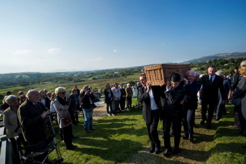 The remains being carried at the burial ceremony of 'Dancing at Lughnasa' playwright Brian Friel at Glenties Cemetery. Photograph: Dara Mac Donaill/The Irish Times