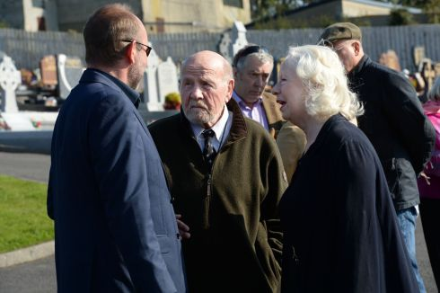Writer Eugene McCabe and actor Marie Mullen at the burial ceremony of Brian Friel. Photograph: Dara Mac Donaill/The Irish Times