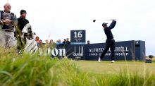 Paul Dunne drives off the 16th tee during final round of the 2015 Alfred Dunhill Links Championship at The Old Course on in St Andrews, Scotland. Photo: Mark Runnacles/Getty Images