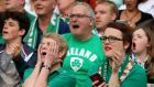 Ireland supporters feel the strain during the World Cup Pool D game against Italy at the Olympic Stadium. Photograph:  James Crombie/Inpho