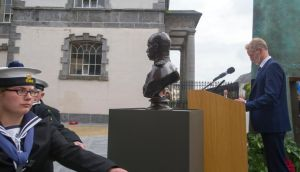 Eamonn McEneaney, director of Waterford Treasures, at the bust of Field Marshal Frederick Roberts. Photograph: Patrick Browne