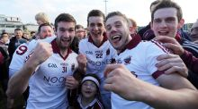 Slaughtneil players celebrate winning the Derry senior Football Championship. Photo: Lorcan Doherty/INPHO