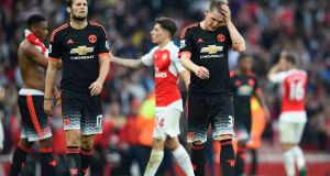 Manchester United's Bastian Schweinsteiger and Daley Blind look dejected at the end of the match. Photograph: Dylan Martinez/Reuters