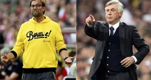 Former Borussia Dortmund coach Juergen Klopp and former Real Madrid coach Carlo Ancelotti are the leading candidates to succeed sacked Liverpool manager Brendan Rodgers. Photograph: Getty Images