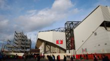 Work being carried out to increase the capacity of Anfield. Photograph: Getty Images