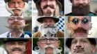 A selection of participants in the 2015 world beard and moustache championships taking place in Leogang, Austria. More than 350 men from 20 nations are competing in 18 categories. Photograph: Angelika Warmuth/EPA