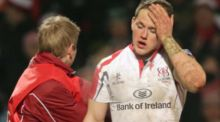 Ulster's Craig Gilroy leaves the field with concussion and a broken nose. Photograph: Morgan Treacy/Inpho