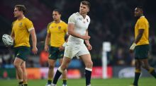 Owen Farrell leaves the pitch after getting a yellow card against  Australia. Photograph: Ben Stansall/AFP