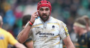 Jonathan Thomas in action for  Worcester in February 2014. Photograph:  David Rogers/Getty Images