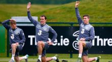 Eunan O'Kane, John O'Shea and Stephen Ward during Ireland squad training  at the  FAI National Training Centre in Abbotstown. Photograph: Donall Farmer/Inpho