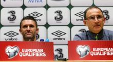 "Republic of Ireland's Robbie Keane (left) and manager Martin O'Neil during a press conference at the FAI National Training Centre on Wednesday. ""We're playing a Germany side full of players that play Champions League football, who have won the World Cup but we are going to go out there and fight,"" O'Neill told reporters.  ""We are going to show our own self-belief."" Photograph: Niall Carson/PA Wire"