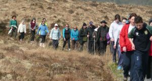 Pilgrims walk along the ancient Tochar to Croagh Patrick route as part of Pilgrim Paths Day 2014.