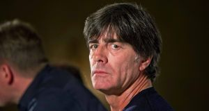 Germany coach Joachim Löw at Wednesday's press conference at the Intercontinental Hotel, Ballsbridge. Photograph: Morgan Treacy/Inpho.