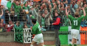 Gary Kelly celebrates after scoring for Ireland against Germany in Hanover in 1994, the only occasion that Ireland have  beaten  holders of world cup. Photograph:  Billy Stickland/Inpho