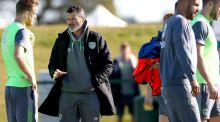 Roy Keane advises Alex Pearce at the Republic of Ireland squad training session at Abbotstown ahead of the key Germany fixture. Photograph: James Crombie/Inpho