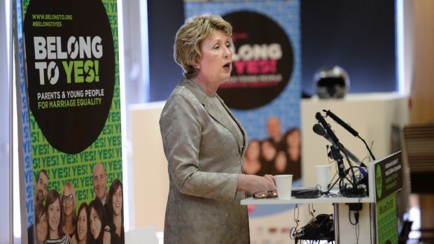 Former president Mary McAleese speaking at a pro-Yes vote event in Dublin prior to the marriage referendum.Photograph: Dara Mac Dónaill / The Irish Times