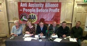 Members of the new Anti-Austerity Alliance (from left) Bríd Smith, Ruth Coppinger, Mick Barry, Richard Boyd Barrett, Paul Murphy and Gino Kenny at the press conference where the new party was formed. Photograph: Cyril Byrne/The Irish Times.