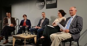 From left, Joe Humphreys chairing the Unthinkable debate, with Cathy Barry, Kevin Mitchell, Siobhán Garrigan and William Reville. Photograph: Alan Betson