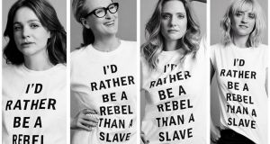 Suffragette stars Carey Mulligan, Meryl Streep, Romola Garai and Anne-Marie Duff, who donned the sloganed T-shirts for a recent Time Out London feature. Photograph: Time Out, via Twitter