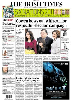 Feb 2nd, 2011: A general election is announced for  February 25th following the dissolution of the 30th Dáil by President McAleese on the advice of Taoiseach Brian Cowen.    Mr Cowen, who was not standing again in the Laois-Offaly constituency, was to remain as Taoiseach until a replacement was elected by the new Dáil.