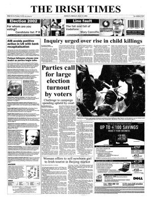 May 17th, 2002: Voters go to the polls in one of the most hotly-contested and unpredictable elections in memory. A total of 466 candidates stand for election to the 30th Dáil in 43 constituencies. On the eve of the election, The Irish Times reported that the leaders of the alternative coalition, Enda Kenny and Pat Rabbitte, maintained that Fianna Fáil would be supported in office by Sinn Féin if there was a hung Dáil.