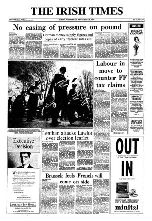 "November 25th, 1992: As the campaigns draws to a close ahead of the Wednesday, November 25th election, the Labour Party's director of elections Barry Desmond accuses Fianna Fail of engaging in ""lies and distortions "" in an effort to stay in power and of employing the advertising agency Saatchi and Saatchi to run a negative campaign of the kind that had proved successful for the British Tory Party.   Labour circulates 250,000 leaflets in Dublin and takes out advertisements in newspapers assuring the public that it has no intention of introducing a range of new taxes."
