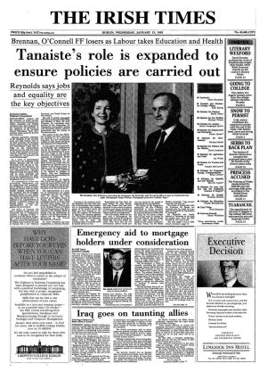 "January 12th, 1993: As much of the country is hit by snow and ice, the temperature finally thaws in political circles and Fianna Fail and Labour form a coalition government under the leadership of Albert Reynolds of Fianna Fail and Dick Spring of Labour.   That party had a very successful election which was dubbed the ""Spring Tide"".   Bertie Ahern is appointed as minister for finance. Protracted talks on forming a government between Fine Gael and Labour had collapsed before Christmas."