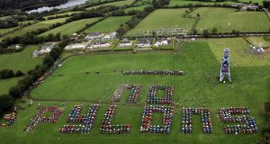Farmers from Monaghan, Cavan and Meath and more than 1,200 tractors taking part in a  tractor rally opposing EirGrid's plan,  near Nobber, Co Meath, in 2008. Photograph: Matt Kavanagh