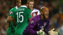 Republic of Ireland goalkeeper  Darren Randolph  reacts during the victory over Germany at the Aviva Stadium. Photo:   Ian Walton/Getty Images)