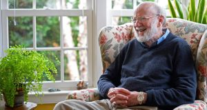 William C Campbell  at his home after the announcement that he won the 2015 Nobel Prize in Medicine, in  Massachusetts. Photograph:  EPA/CJ Gunther