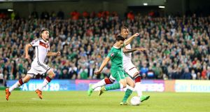 UEFA EURO 2016 Qualifier, Aviva Stadium, Dublin 8/10/2015 Republic of Ireland vs Germany Ireland's Shane Long scores their first goal Mandatory Credit ?INPHO/Cathal Noonan